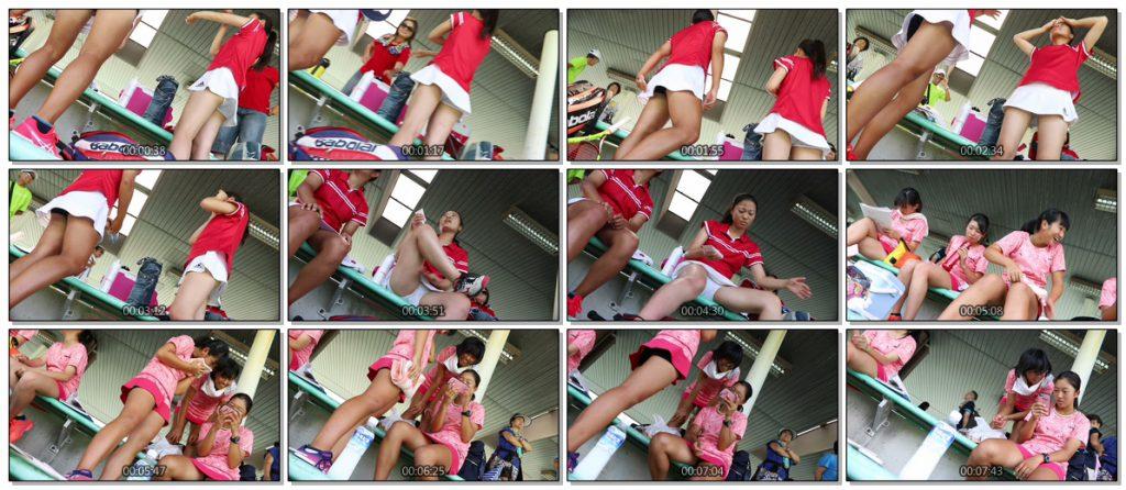 [パンチラ コレクション 46]テニス少女が豪快に目の前で可愛いふとももにクリームを塗る・・・ etc